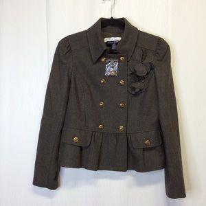Boston Proper ANDREA BEHAR Jacket Peplum Gray 10